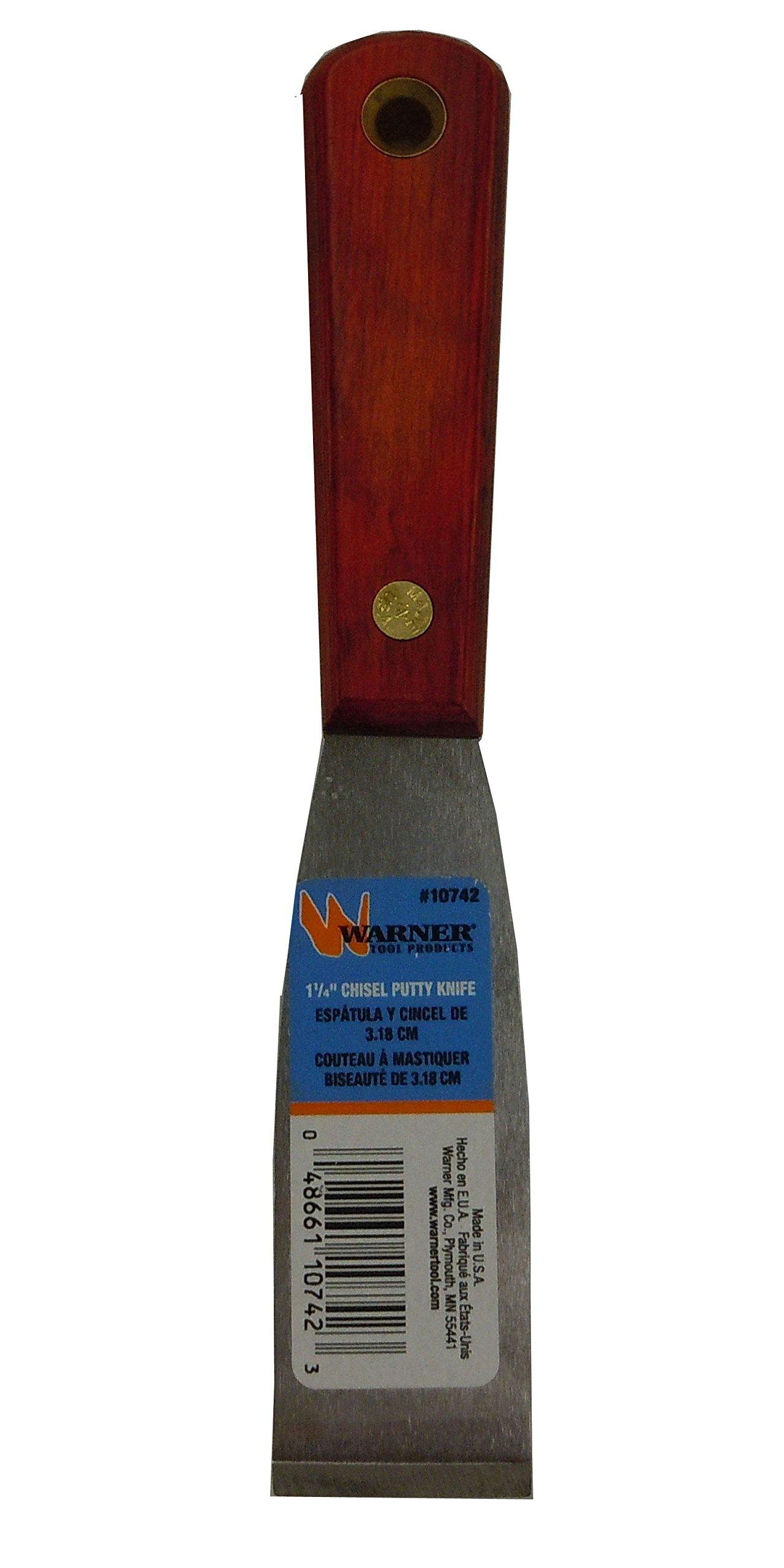 Warner 1-1/4'' Chisel Ground Stiff Putty Knife, Stainless Steel Blade, Rosewood Series, 10742