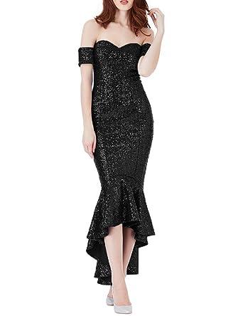 Jicjichos Women\'s High Low Mermaid Sequin Prom Dresses Off Shoulder ...