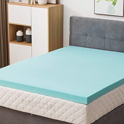 ffbab1aed43 Image Unavailable. Image not available for. Color  Mecor 4 quot  4 inch  100% Gel Infused Memory Foam Mattress Topper-Flat Design