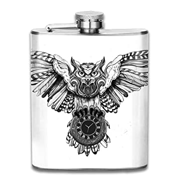 Amazoncom Black And White Owl Design Personalised Pocket Hip Flask