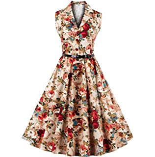 Women Summer Hot Vintage Hepburn Sleeveless Printed Midi Skirt Dress with Belt