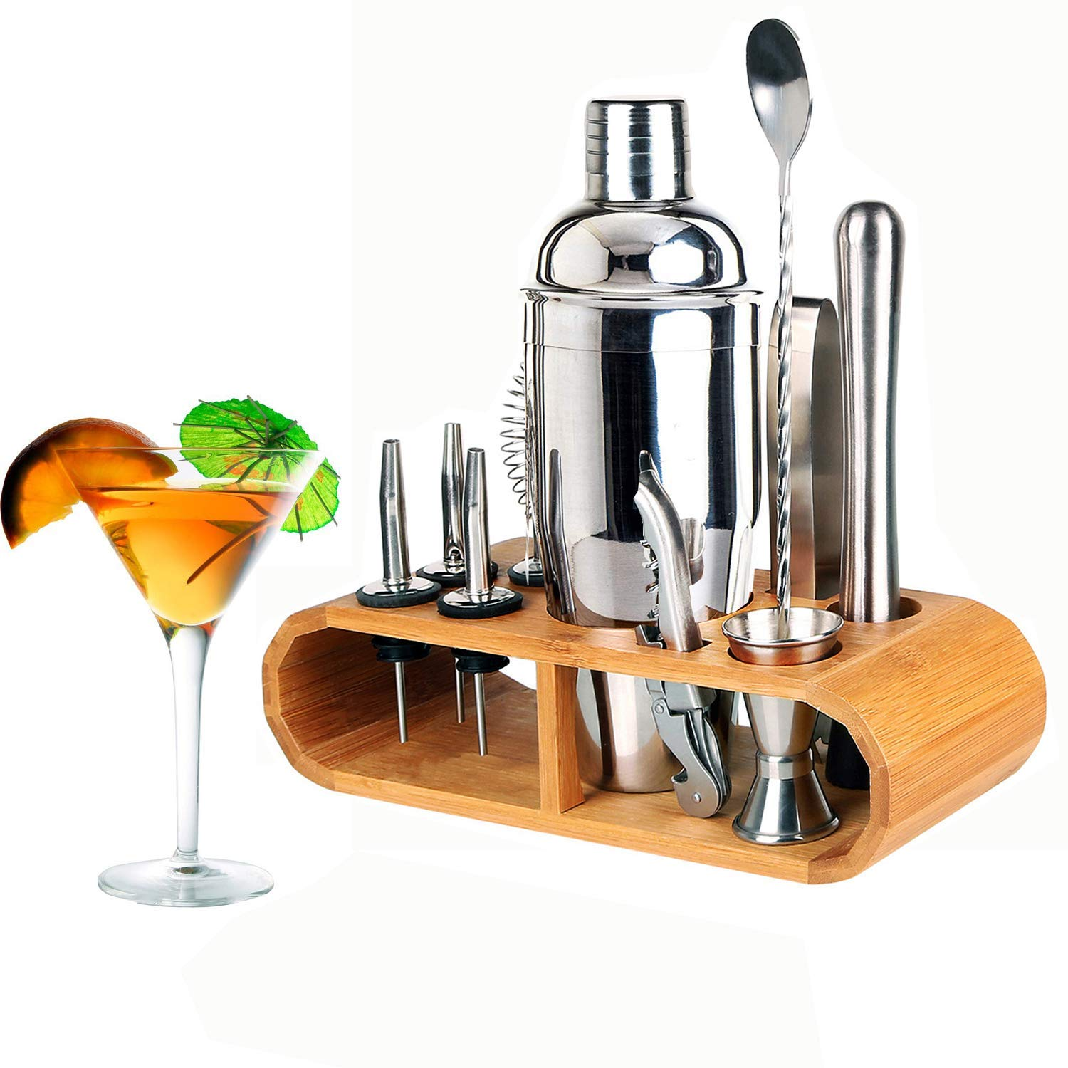 12 Piece Cocktail Making Set Cocktail Shaker Kit Stainless Steel Bar Bartender Accessories Including Spoons Muddler Jigger and Strainer with Stand