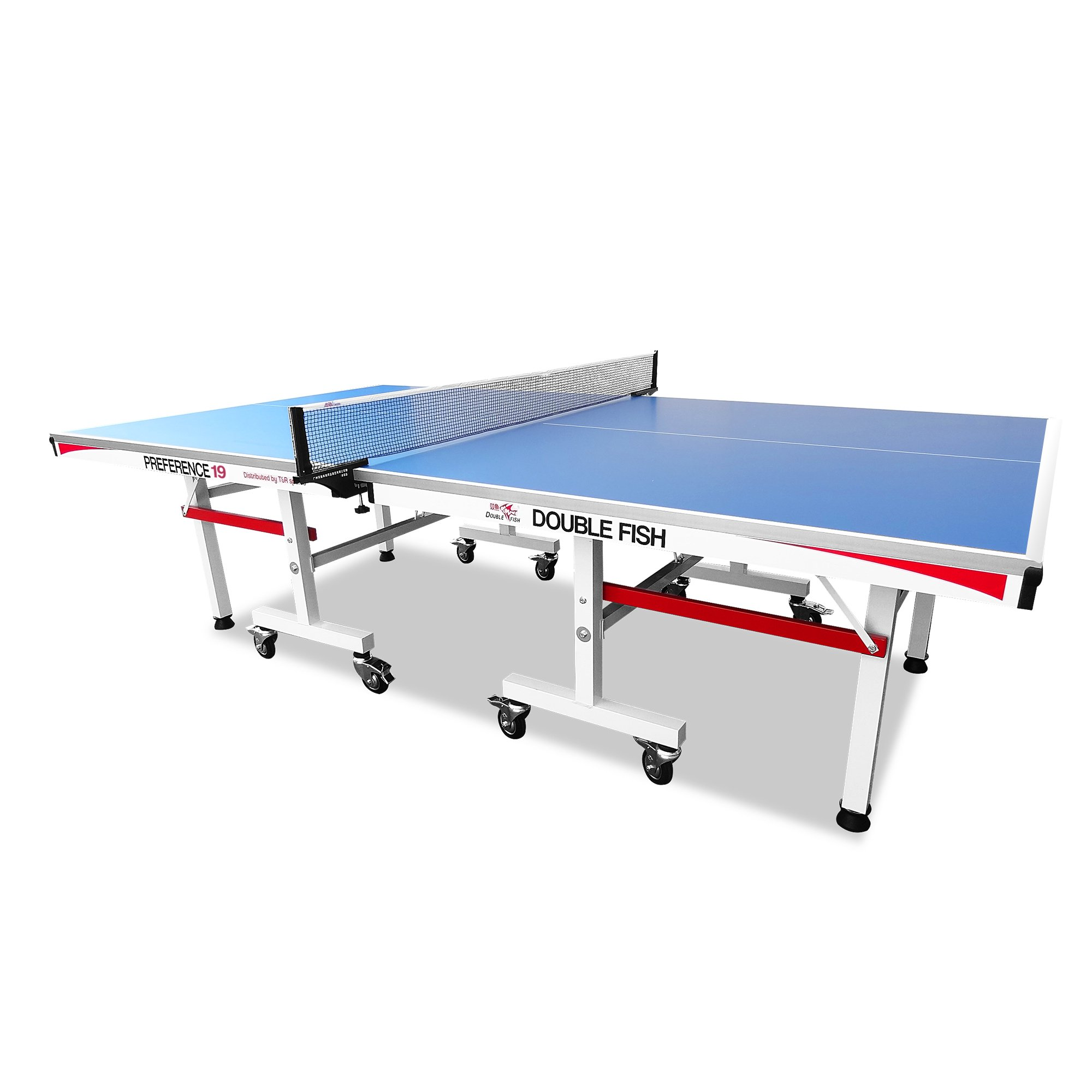 Double Fish Extra Thick 3/4 inch Indoor Outdoor Table Tennis Table Professional Foldable Ping Pong Table w/ Free Double Fish Accessory Pack Rackets Balls and Net by T&R sports