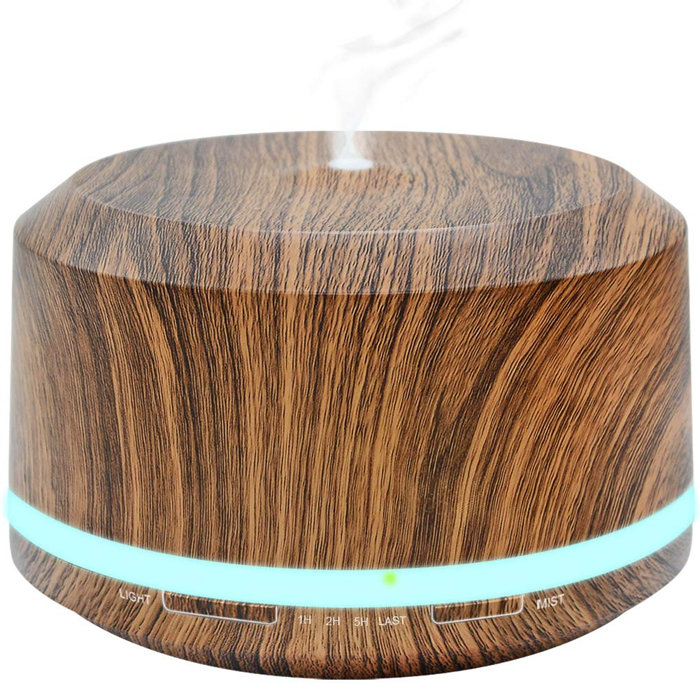 Essential Oil Diffuser 450ml, Wood Grain Aromatherapy Diffusers and Air Humidifiers Set for Large Room - LUSCREAL Gift Idea
