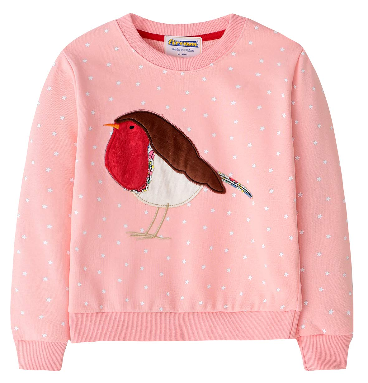 Fiream Girls Cotton Crewneck Cute Embroidery Sweatshirts(3055,7T/7-8YRS)