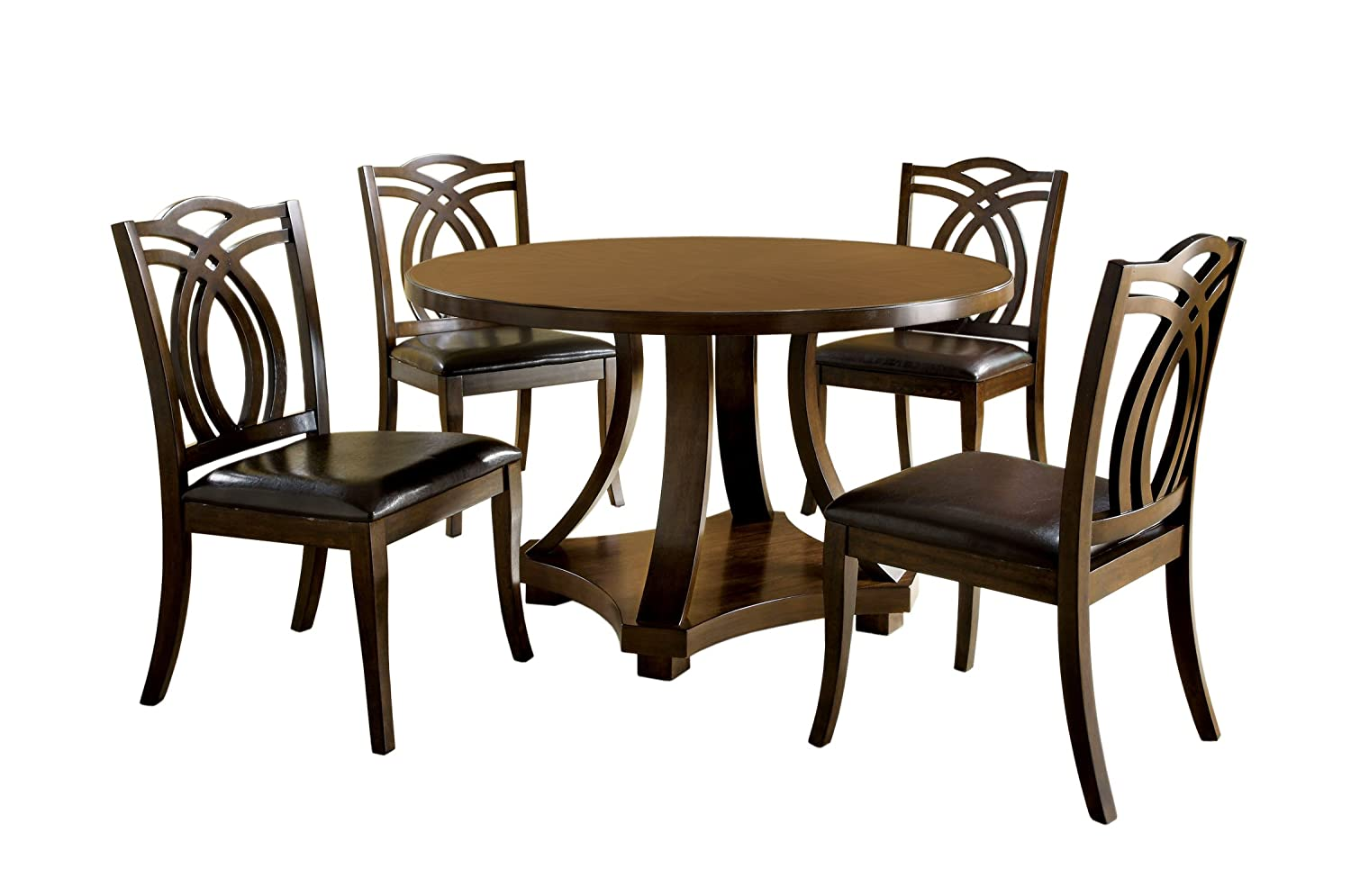 Amazon.com - Furniture of America Fluxeur 5-Piece Round Dining Table Set Dark Walnut - Table u0026 Chair Sets  sc 1 st  Amazon.com & Amazon.com - Furniture of America Fluxeur 5-Piece Round Dining Table ...
