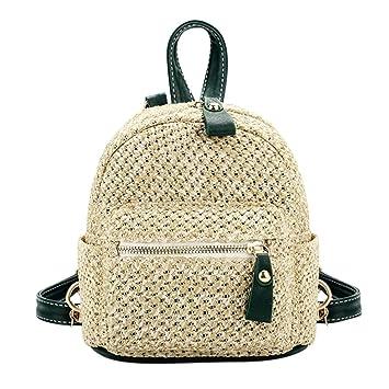 Widewing Travistar Bolsos Mochilas Mujer Casual Straw Backpack Women Mini Bolso de hombro Weave Hollow Beach Schoolbag / Verde: Amazon.es: Deportes y aire ...