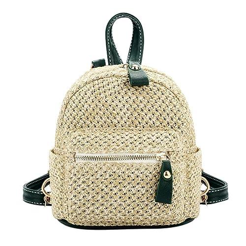 Chaufly Paja mochilas mujer, Verano Playa Bolso Y Bolsos de mano Travel Beach mochila mochilas: Amazon.es: Zapatos y complementos