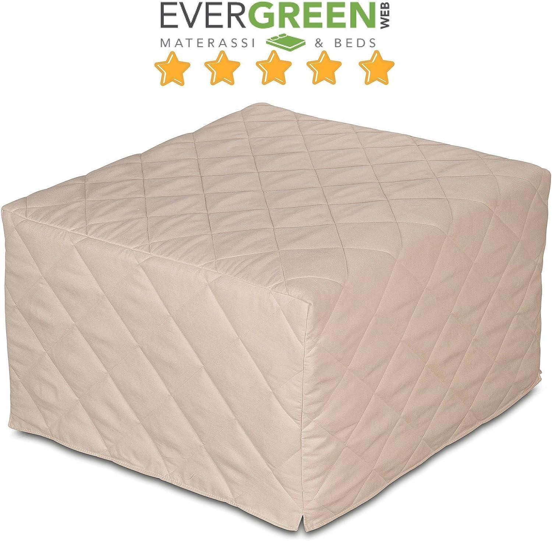 EvergreenWeb - Puff Cama con Colchón de Waterfoam de 10 cm de Altura - Suite Ahorra Espacio Plegable para Dormitorio y Sala, Otomana Reposapiés, Tela ...
