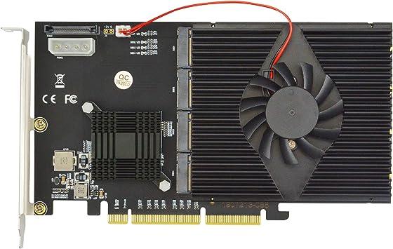 ADWITS Quad M.2 NVMe SSD PCIe X16 Adaptador, ASM2824 PCI Express ...