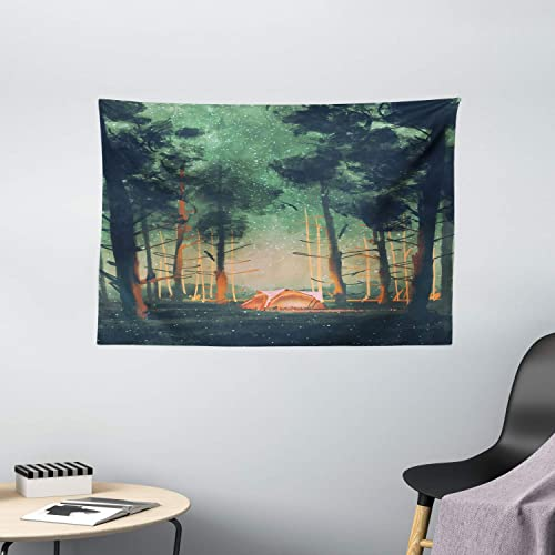 Ambesonne Fantasy Tapestry, Camping in Forest at Night with Stars Fireflies Environment Nature Scene Art, Wide Wall Hanging for Bedroom Living Room Dorm, 60 X 40 , Orange