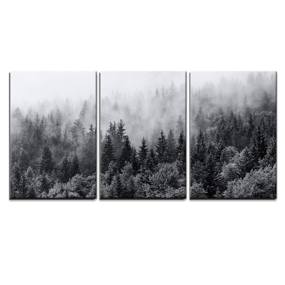 """wall26 - 3 Piece Canvas Wall Art - Misty Forests of Evergreen Coniferous Trees in an Ethereal Landscape - Modern Home Decor Stretched and Framed Ready to Hang - 24""""x36""""x3 Panels"""