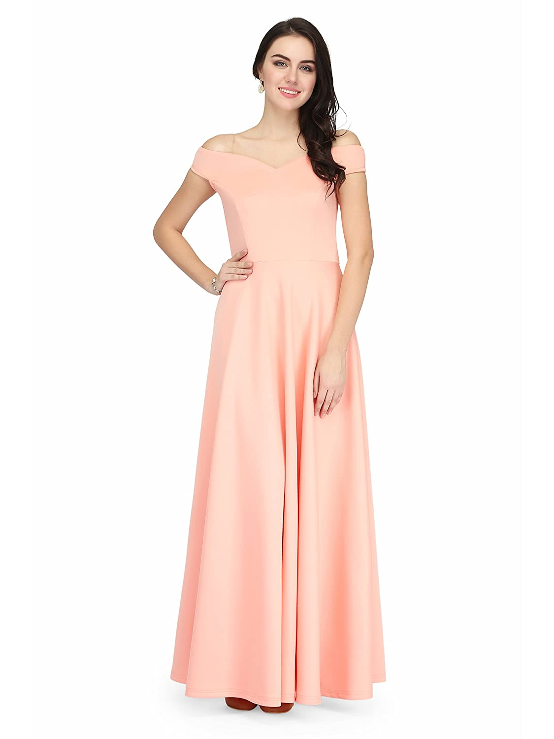 Eavan Peach Off Shoulder Gown: Amazon.in: Clothing & Accessories