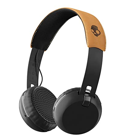 Skullcandy Grind Bluetooth Wireless On-Ear Headphones with Built-In Mic and Remote, 12-Hour Rechargeable Battery, Supreme Sound Audio, Plush Ear Pillows for Comfort, Black Tan