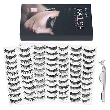 4bcaf18b94b Lurrose 60 Pairs 6 Styles Fake Eyelashes Natural Handmade Long Soft False  Eyelashes Pack for Makeup