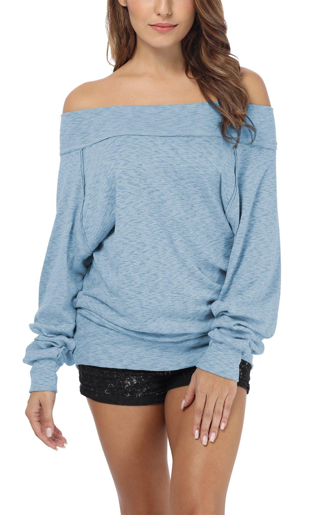 iGENJUN Women's Dolman Sleeve Off The Shoulder Sweater Shirt Tops,Blue,XL