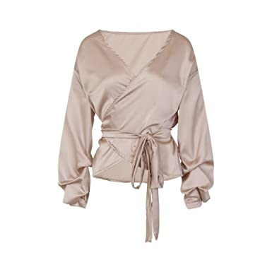 56b05eaa6939ce Little Mistress Womens/Ladies Silky Wrap Blouse (One Size) (Gold):  Amazon.co.uk: Clothing