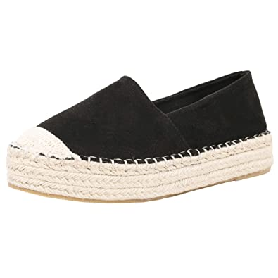 57a96a346fb0a Amazon.com | Ruanyu Womens Platform Espadrille Sneakers Slip On Cap ...