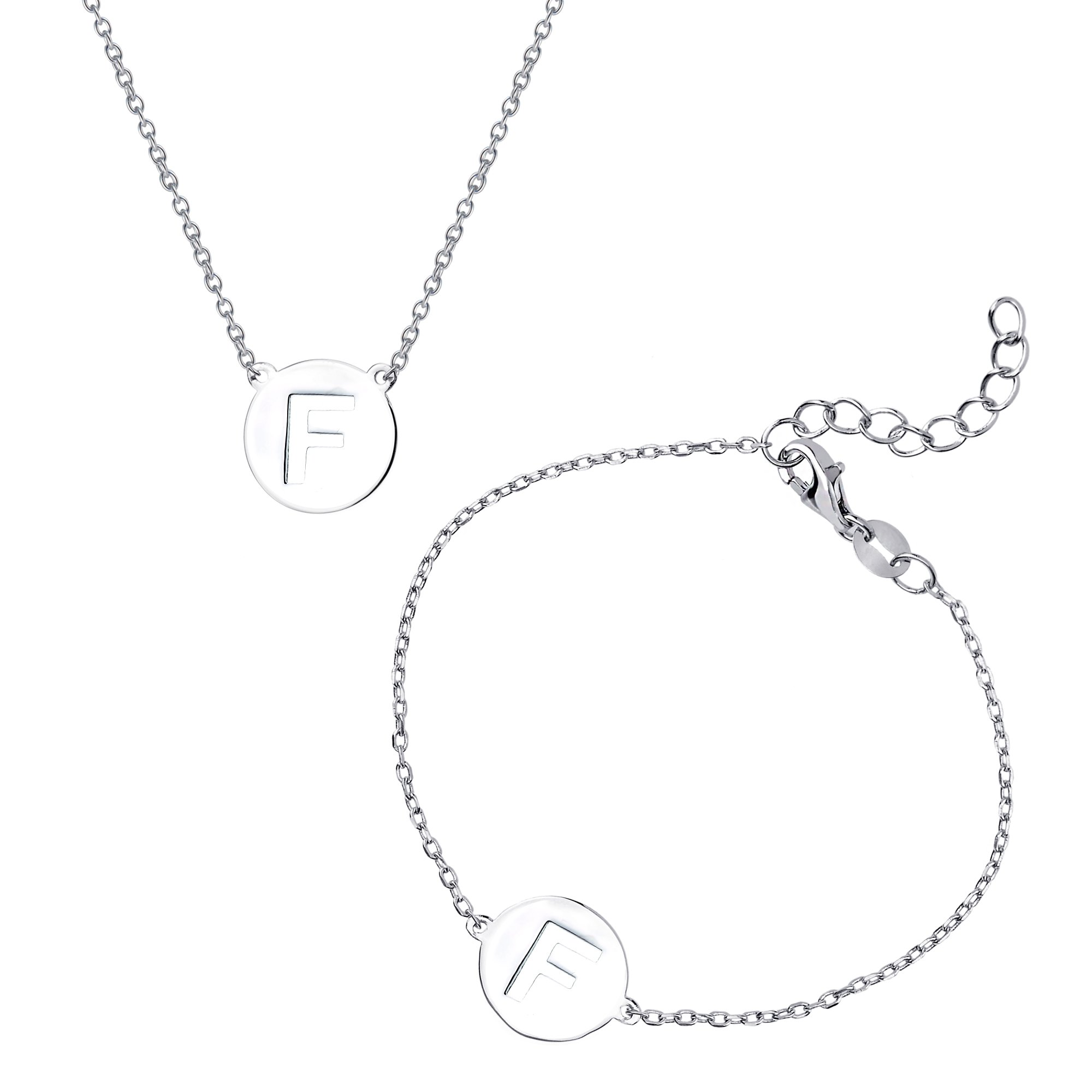 Sterling Silver Italian High Polish Intitial Disc Cut-Out Bracelet & Necklace Set