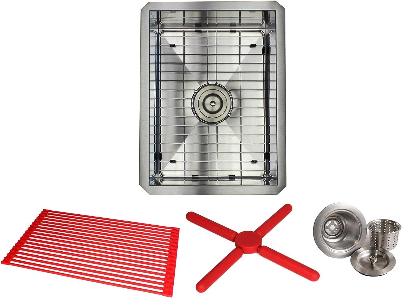 ARIEL ARL-F1520 15 Inch Zero Radius Design 16 Gauge Undermount Single Bowl Stainless Steel Kitchen Bar Prep Sink Premium Package