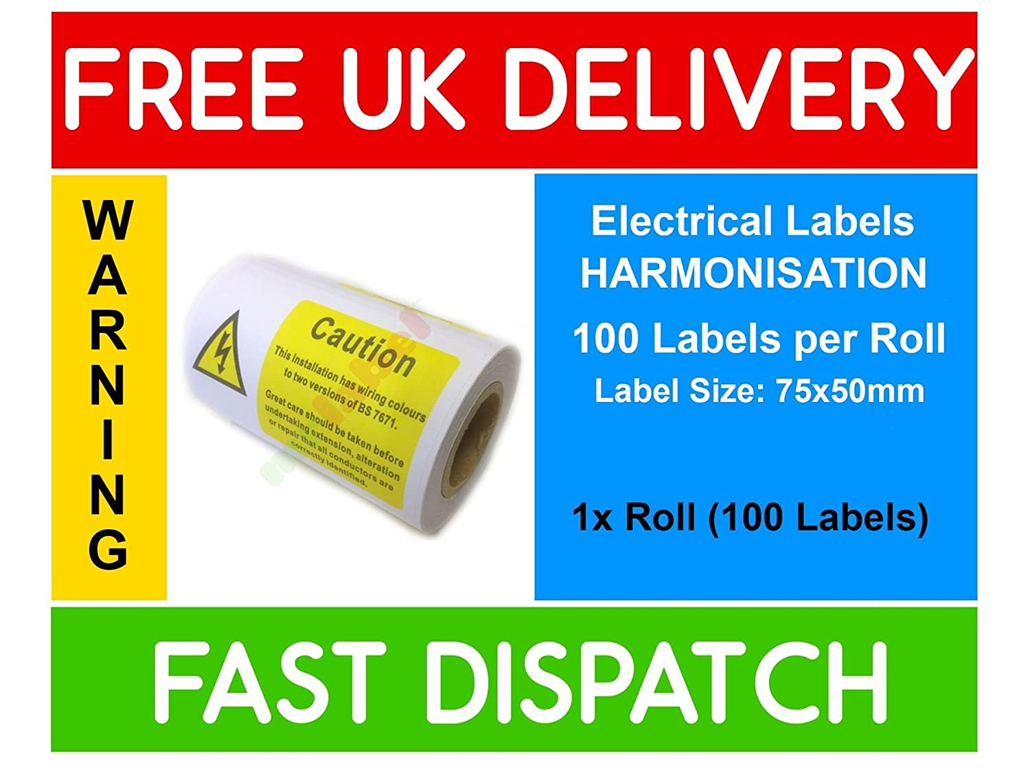 100x Wiring Colours To Two Versions Of Bs7671 Harmonisation Label Us Mains Colors Roll 75x50mm Office Products