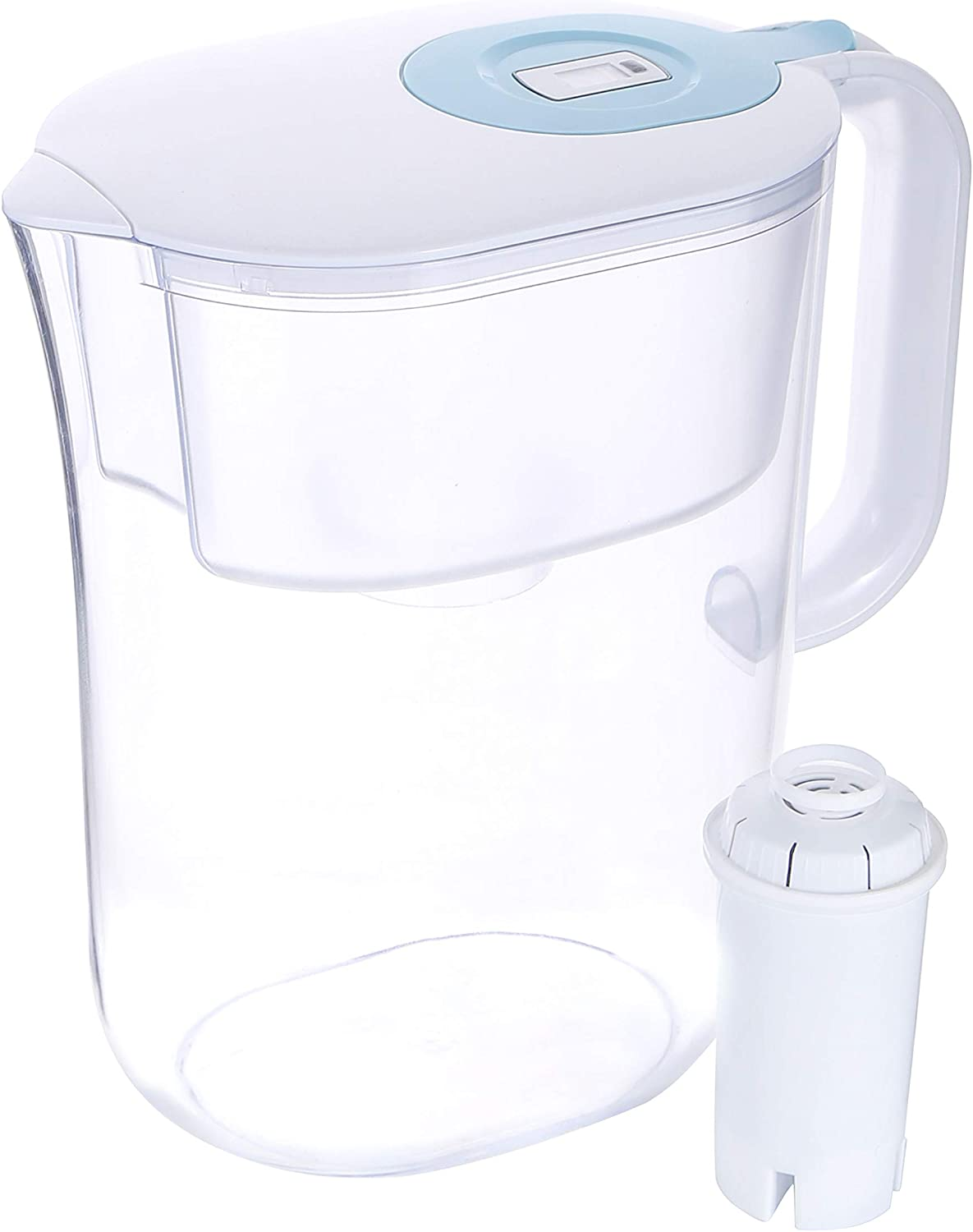Freco Water Filter Pitcher, 3.5L Large Everyday Water Purification Dispenser, 10-Cup with 1 Filter, Long-Lasting BPA Free Filtration, Reducing Chlorine Lead Alkaline Heavy Metals, White