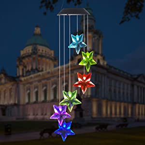 LINGBUSINESS Solar LED Mobile Wind Chimes Color Changing, Waterproof Outdoor Solar Light, Home Garden Patio Yard Decor, Garden Decorating Solar Light, Indoor Outdoor LED Light,Star