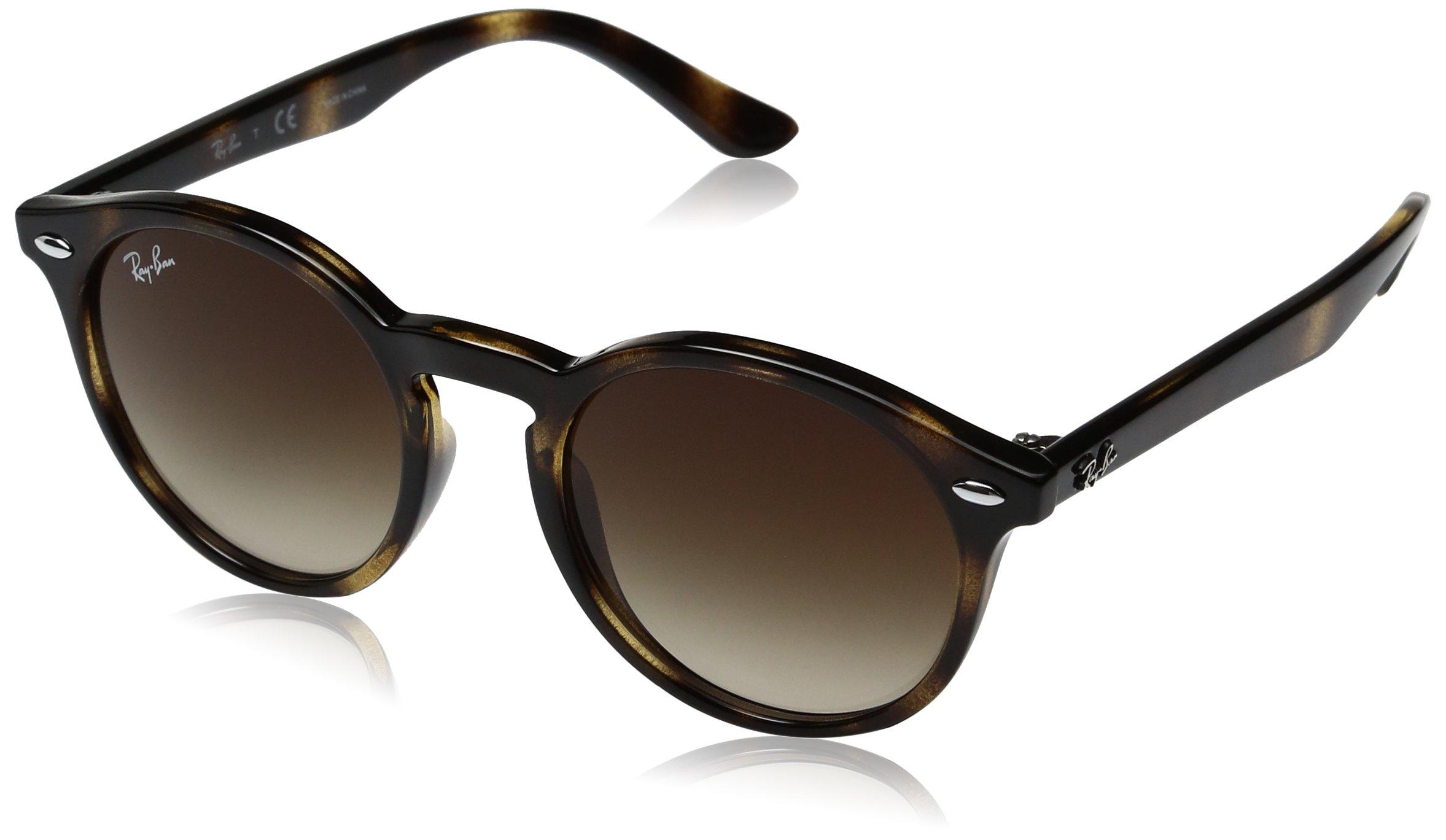 Ray-Ban Junior RJ9064S Round Kids Sunglasses, Shiny Tortoise/Brown Gradient, 44 mm