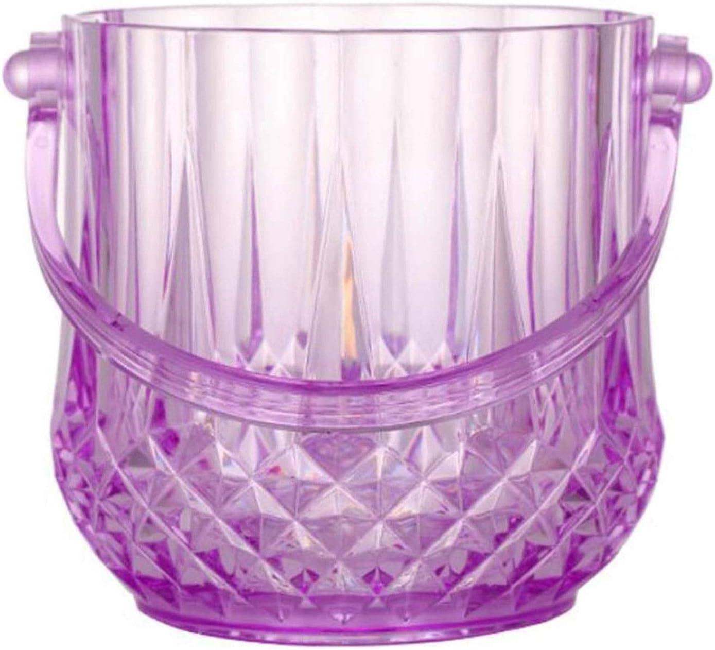 Cubiteras Ice Bucket para Interior y Exterior 1L Cubierta de hielo púrpura de plástico para el hogar con mango y pinzas de hielo, cubo de vino de champán, para bodas, suministros de patio de verano Cu