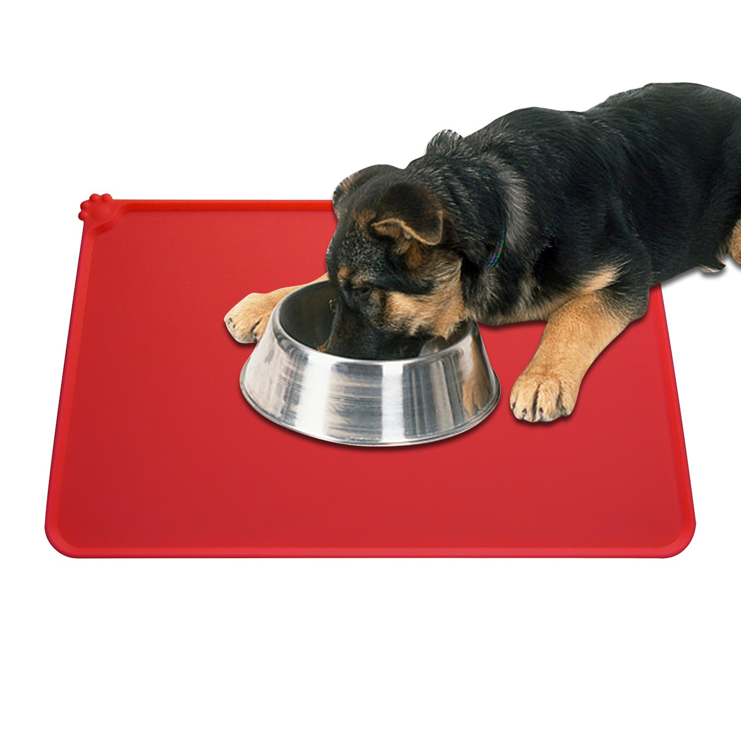Guardians Dog Food Mat, Silicone Pet Feeding Mats, Non Slip Waterproof Cat Bowl Trays Food Container Placemat for Small Animals (18.5''x11.8'', Red) by Guardians (Image #3)