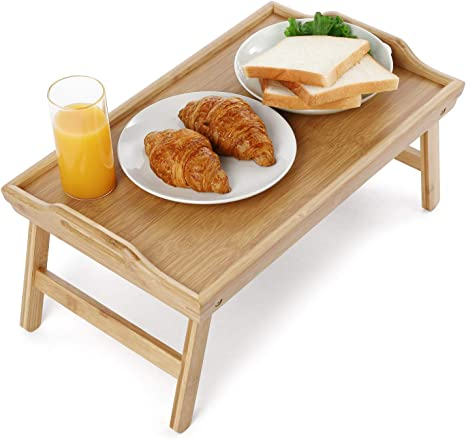 YYiwin Breakfast Tray Table,Natural Bamboo Bed Tray with Handles and Folding Legs Wood