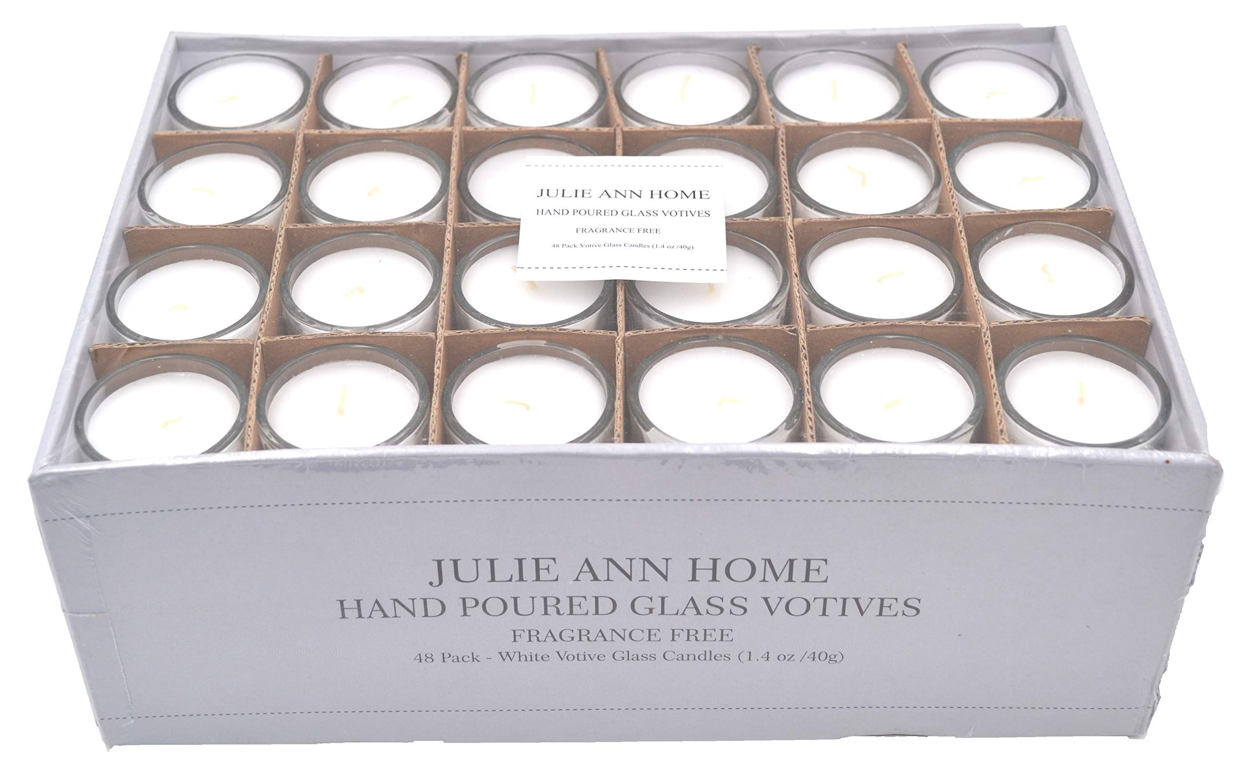 White Unscented Glass Votive Candle - Set of 48 | Bulk Pack for Weddings, Bridal Showers or Home Parties and Centerpieces by Julie Ann Home