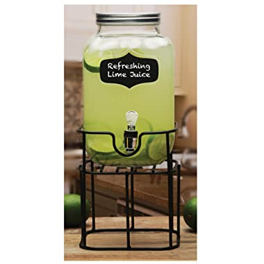 Circleware 66945 Sun Tea Mini Mason Jar Glass Beverage Dispenser with Lid Glassware For Water, Juice, Beer, Wine, Liquor, Kombucha Iced Punch and Cold Drinks, Chalkboard 1 Gallon With Stand