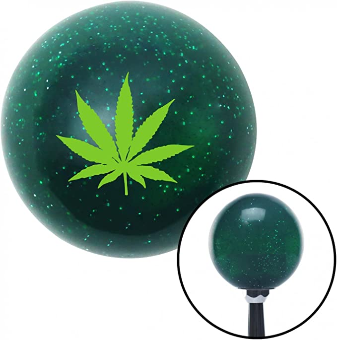 Black Simple Turtle American Shifter 265858 Green Flame Metal Flake Shift Knob with M16 x 1.5 Insert
