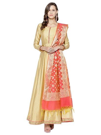5cfbc9240c Inddus Women's Woven Embroidered Art Silk Anarkali Salwar Suit Dupatta  Material (Beige,Un-Stitched): Amazon.in: Clothing & Accessories