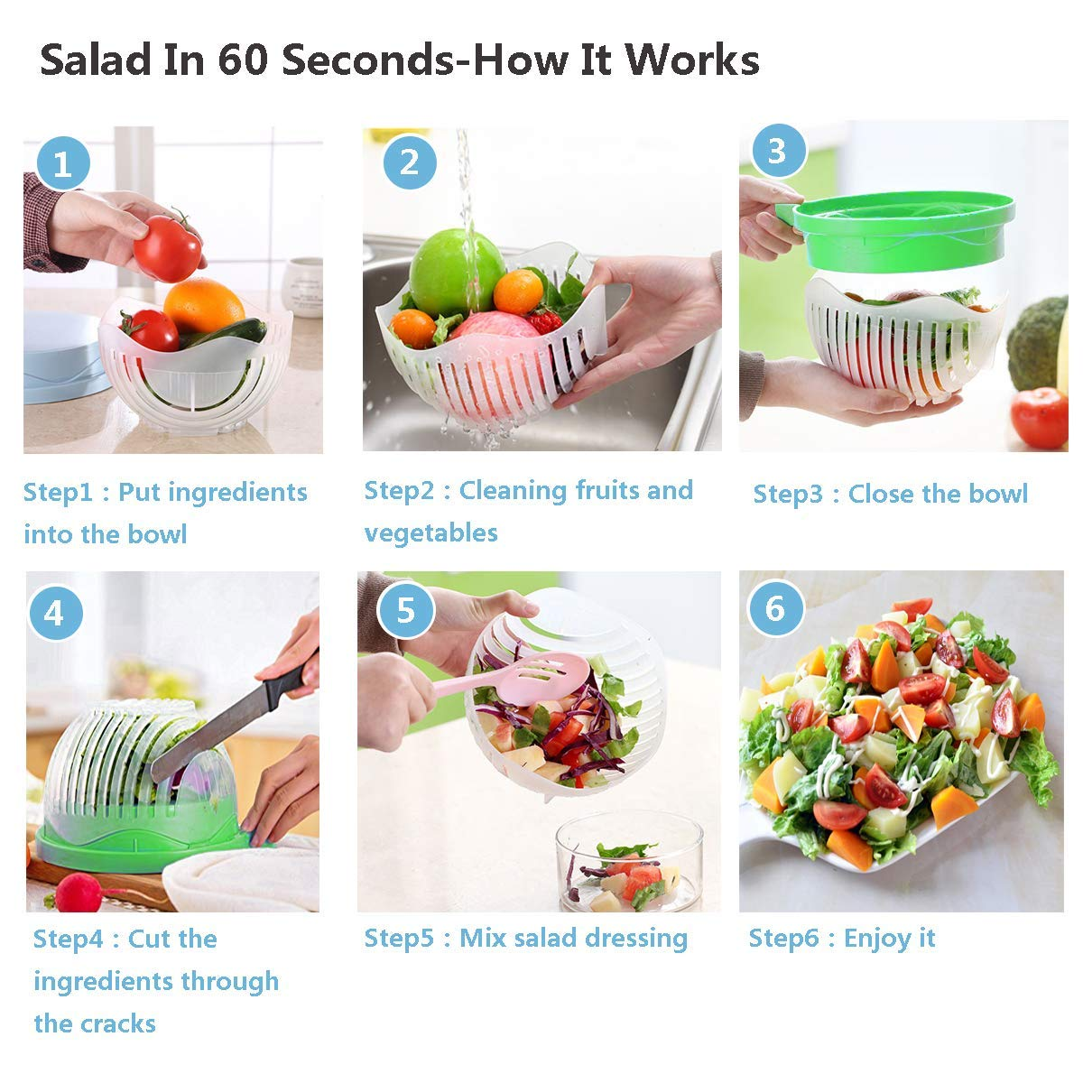 Salad Cutter Bowl 60 Seconds Easy Fresh Salad Cutter and Fast Fruit Vegetable Chopper Salad Maker by Accdata [Bonus Multi-Function Paring Knife] by Accdata (Image #4)