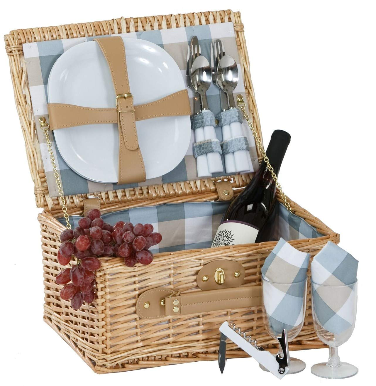 Picnic Plus Boothbay Two Person Picnic Basket Willow Picnic Basket With Two Plates/Flatware/Wine Glasses/Cotton Napkins/Corkscrew (14 Pcs Included)
