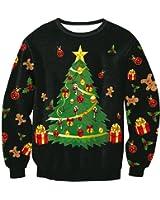 Vertvie Unisex Weihnachtspullover Sweatshirts Strickpullover Rundhals Pulli Langarmshirt mit 3D Weihnachtsbaum Druck