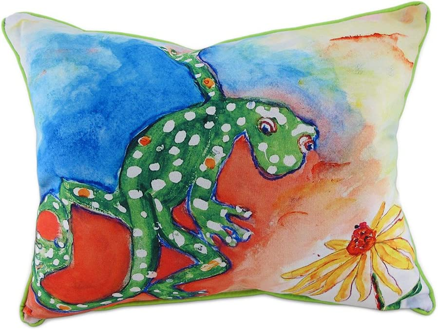 Betsy Drake Colorful Gecko Indoor Outdoor Decorative Throw Pillow 16in.X20in.