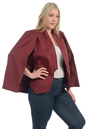 fb8443979b6ac Women s Open Front Plus Size Cape Blazer Jacket at Amazon Women s Clothing  store