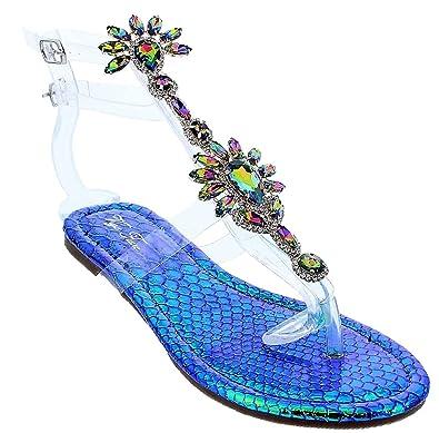 cd2971e3ea074 Amazon.com  Liliana Marlo-9 Gladiator Lucite Clear Strap Rhinestone Bling  Flats Sandal Hologram 8  Shoes