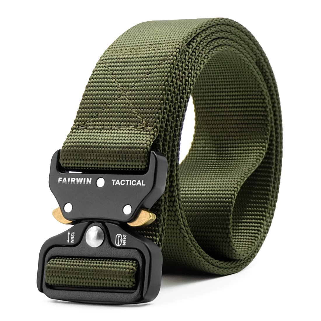 Fairwin Tactical Belt, Military Style Webbing Riggers Web Belt with Heavy-Duty Quick-Release Metal Buckle (Green, M 36''-42'')