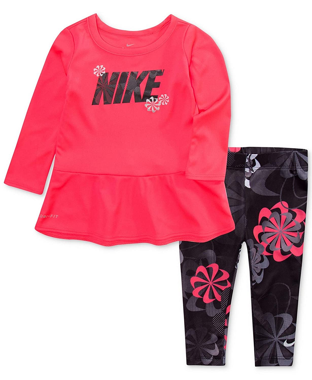 e29325ed5a82 Amazon.com  Nike Baby Toddler Girls 2-Pc. Peplum Top   Leggings Set ...