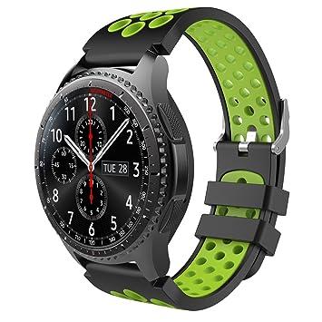 TiMOVO Correa de Reemplazo, Perforada de Silicona de Dos Colores Compatible con Samsung Gear S3 Frontier, S3 Classic, Garmin Vivomove, Moto 360 2nd ...