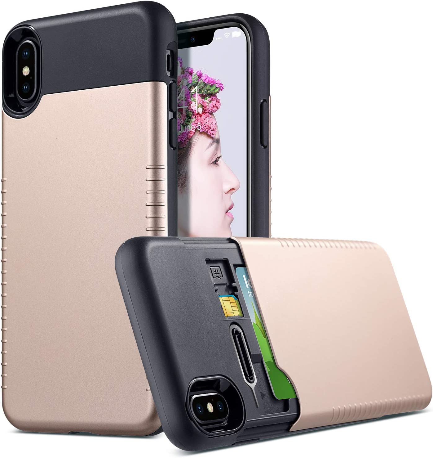 ULAK iPhone Xs Max Case, Slim Stealth Wallet Case with Hidden Card Holder and SIM Card Slots Anti-Slip Hybrid Shockproof TPU Bumper Protective Cover for iPhone Xs Max 6.5 inch (Gold + Black)
