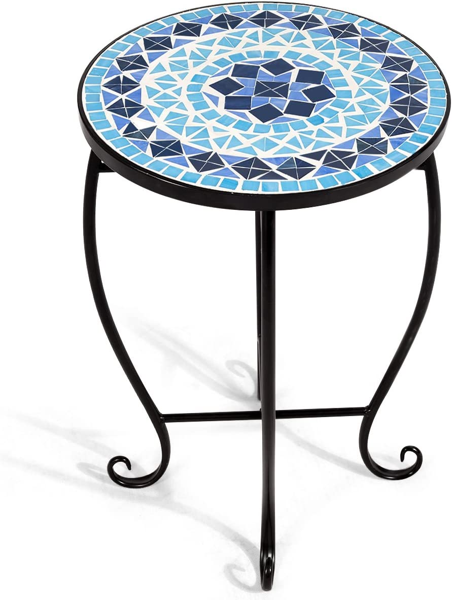 Giantex Mosaic Round Side Accent Table Patio Plant Stand Porch Beach Theme Balcony Back Deck Pool Decor Metal Cobalt Glass Top Indoor Outdoor Coffee End Table Ocean Fantasy