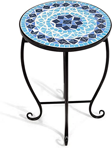 Giantex Mosaic Round Side Accent Table Patio Plant Stand Porch Beach Theme Balcony Back Deck Pool Decor Metal Cobalt Glass Top Indoor Outdoor Coffee End Table BLlue