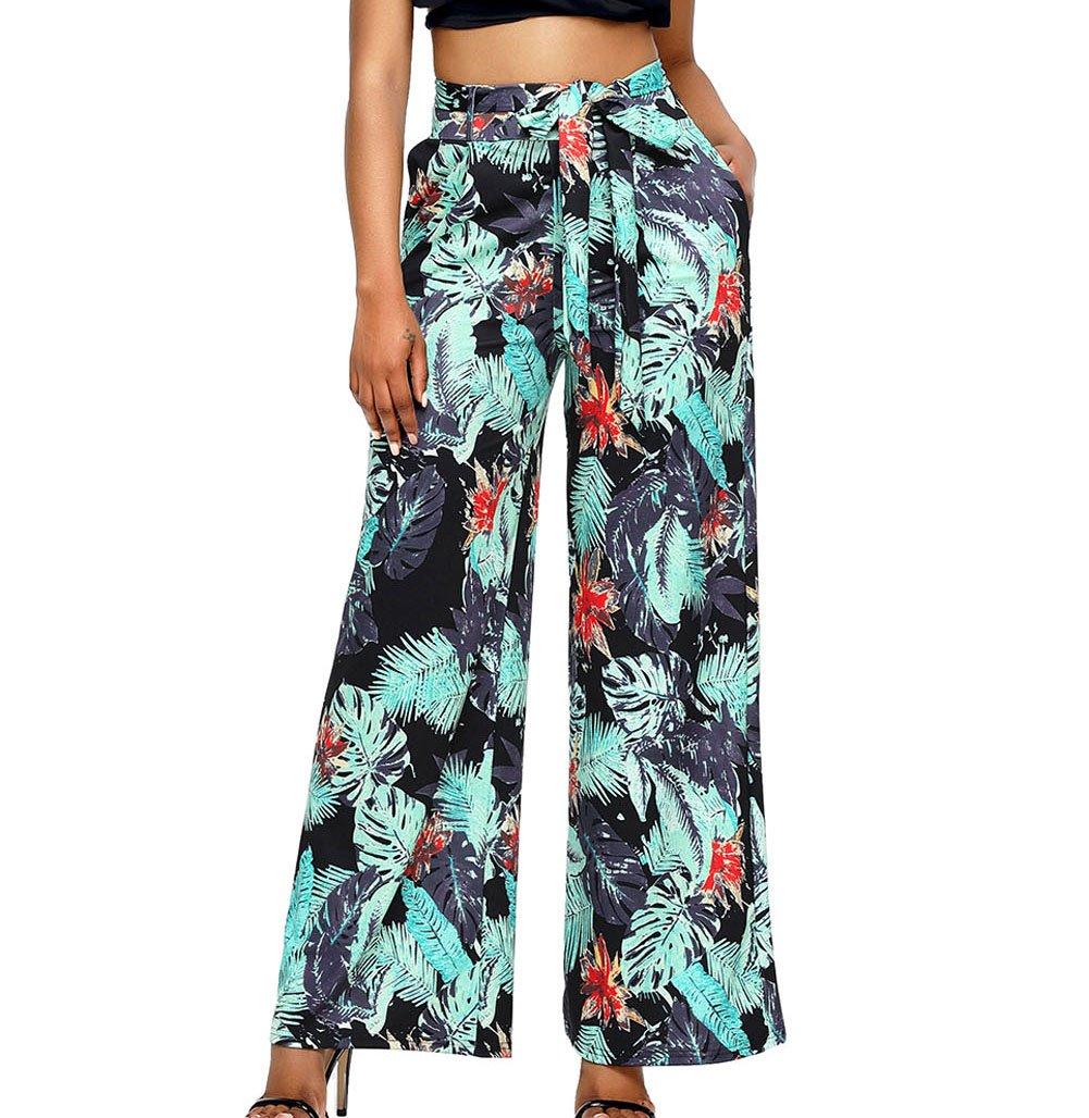 Milakoo Womens High Waist Wide Leg Long Palazzo Pants Green Print Casual Pants S to XXL