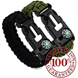 2PCS PACK Paracord Survival Bracelet with a 550LB Parachute Cord, Fire Starter, Embedded Compass, Flint and Emergency Whistle. A Pack of Two for Outdoors, Camping and Survival Situations