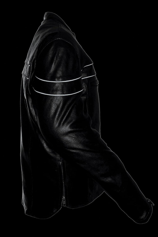 Black, Large Event Biker Leather Mens Split Leather Vented Scooter Jacket